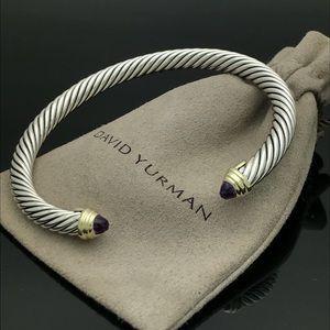 David Yurman Silver&Gold Amethyst Cuff Bracelet
